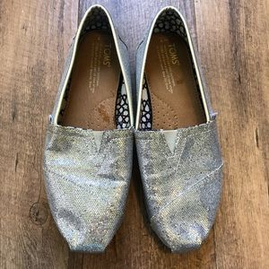 Toms | Silver Slip on Shoes